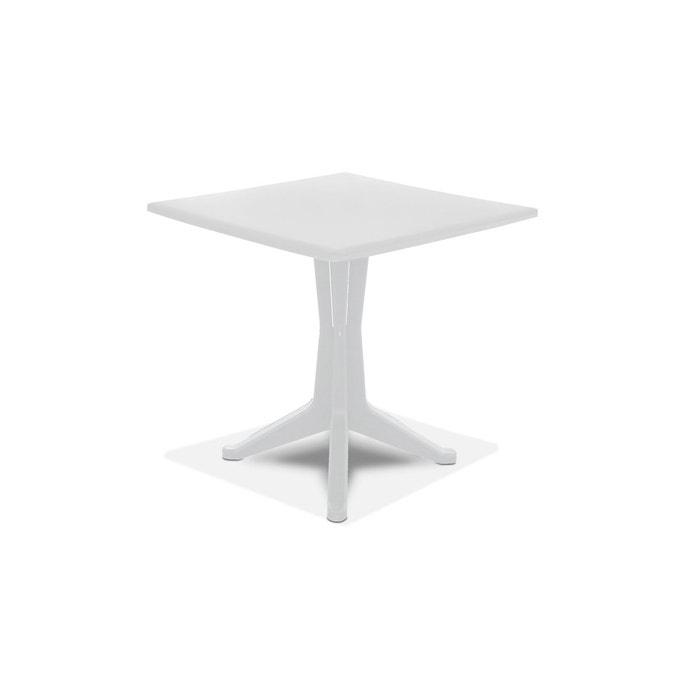 Table de jardin carrée en plastique blanc Oviala | La Redoute