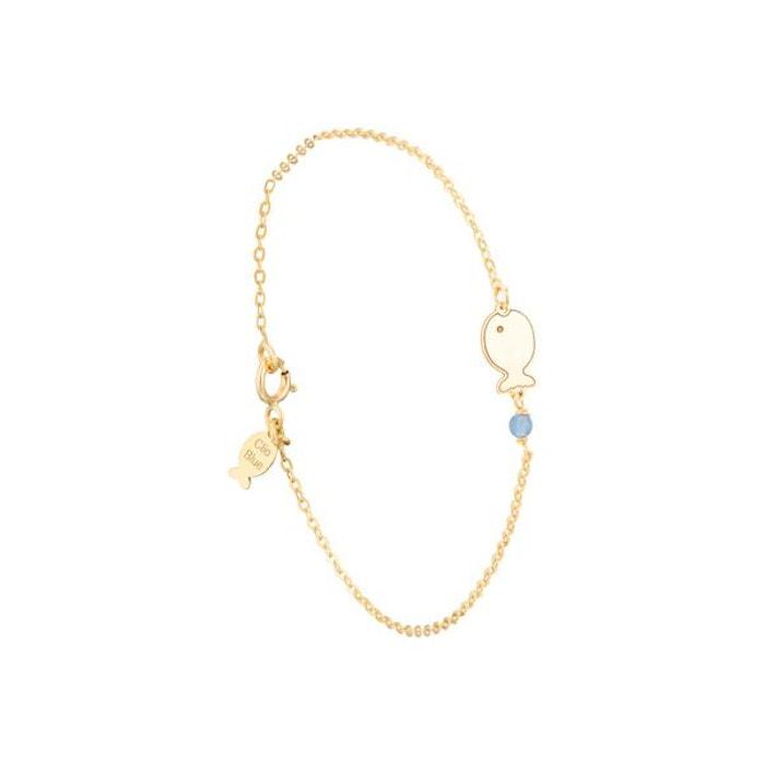 Bracelet chaîne poisson clio blue or jaune 18k, 0.9g or Clio Blue | La Redoute