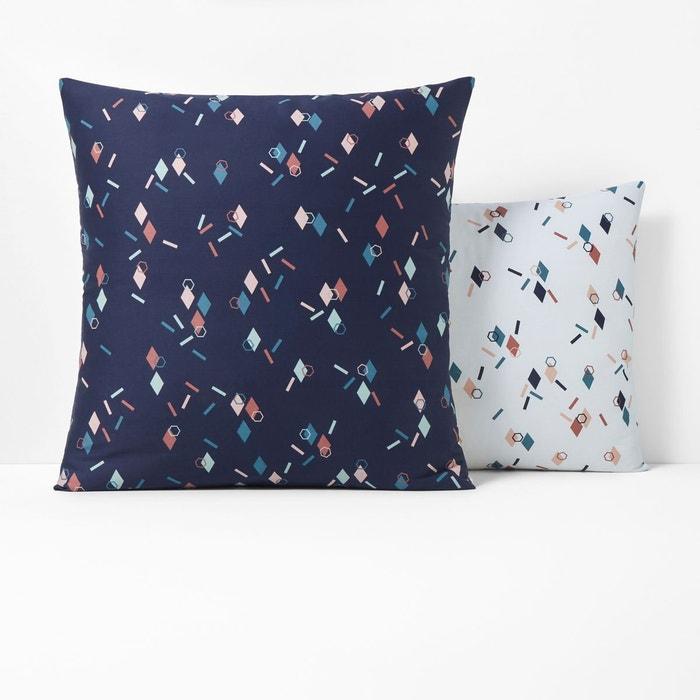 taie d 39 oreiller satin de coton paillettes imprim bleu fonc la redoute interieurs la redoute. Black Bedroom Furniture Sets. Home Design Ideas