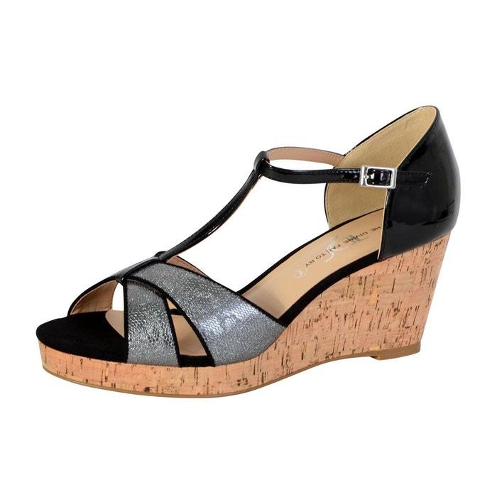 Sandales compensée femme noir noir The Divine Factory