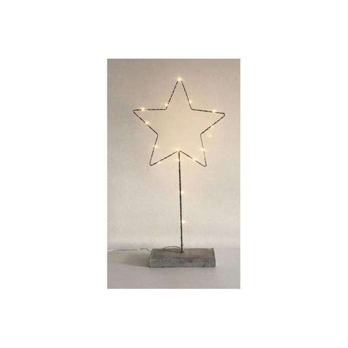 Lampe A Poser Etoile Led Socle Beton H50 Maia Noir Declikdeco La