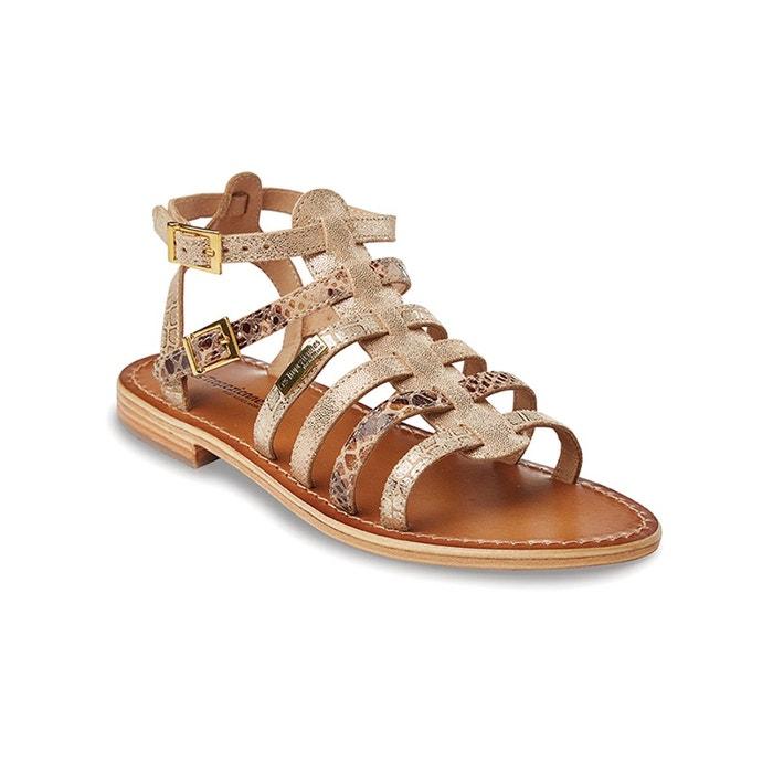 Sandales cuir plates baille or multicolore Les Tropeziennes Par M Belarbi