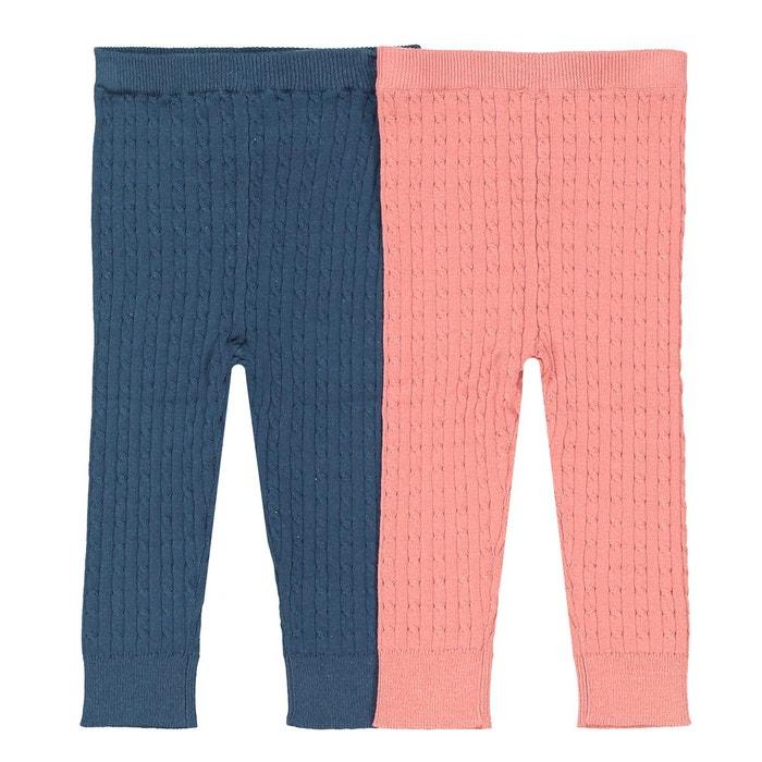 Lot de 2 leggings en tricot tressés 1 mois , 3 ans bleu/rose La Redoute  Collections