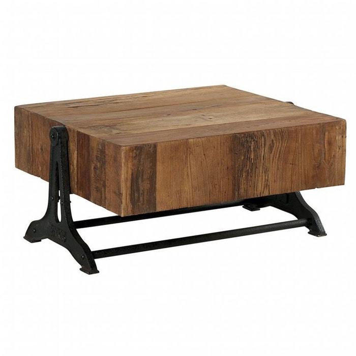 table basse bois recycl et m tal 85x70 canada bois clair. Black Bedroom Furniture Sets. Home Design Ideas