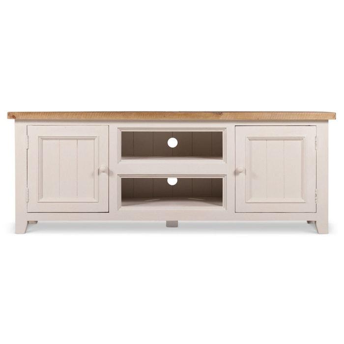 Meuble Tv Bas Rangement Bois Blanc Cesure 160x45x60cm Decoration D Autrefois