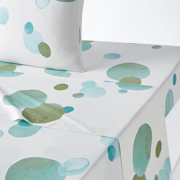 drap plat percale coton perle d eau imprim fond blanc la redoute interieurs la redoute. Black Bedroom Furniture Sets. Home Design Ideas
