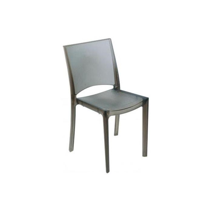 Chaise design grise fonc e fum e transparente nilo gris for Chaise grise transparente