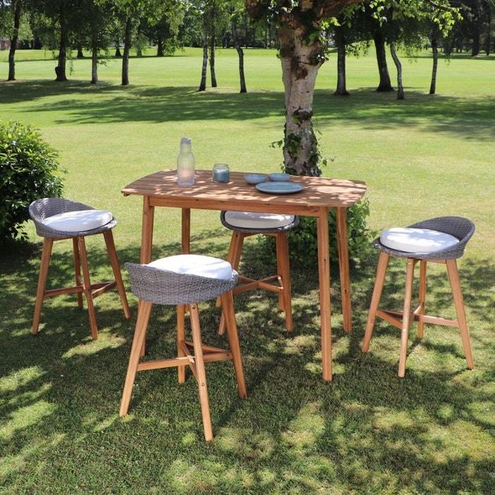 Salon de jardin haut en bois d\'acacia 4 places