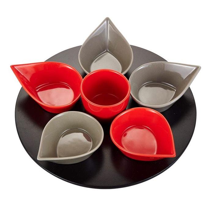 Service aperitif goutte 7 pieces rouge gris - plateau tournant ...