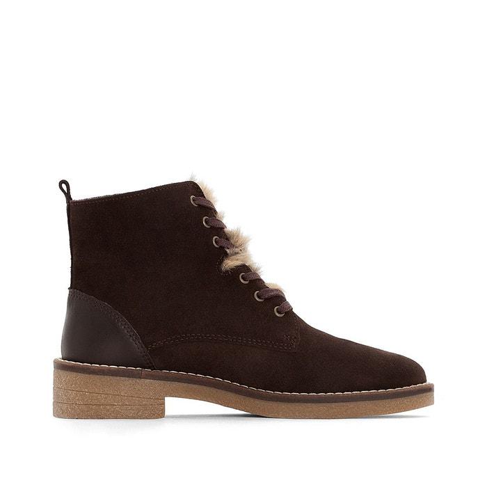 Boots cuir col fourrure marron La Redoute Collections
