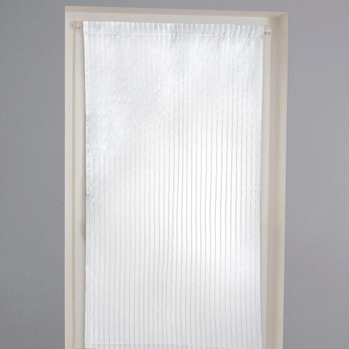 vitrage rayures tiss es passe tringle gerbera blanc la. Black Bedroom Furniture Sets. Home Design Ideas