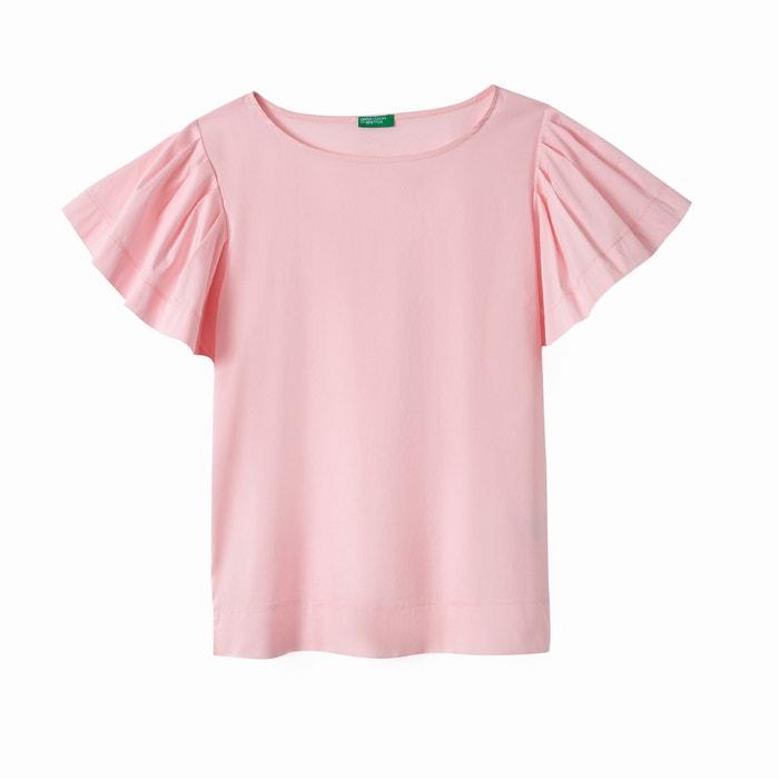 y manga corta volantes cuello Camiseta con con redondo BENETTON wpnq1XxIP