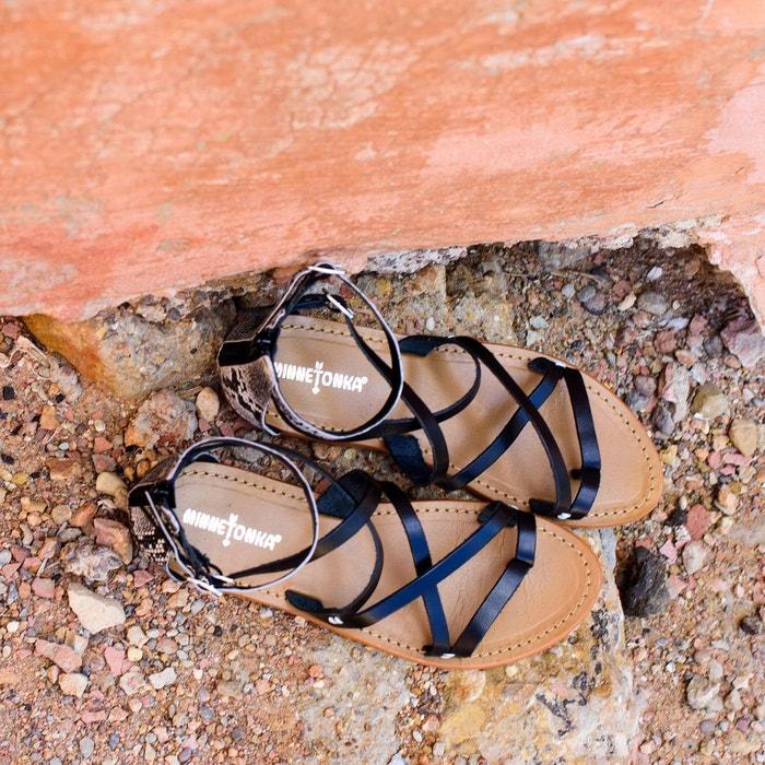 Sandales à brides en cuir vachette atrina noir Minnetonka
