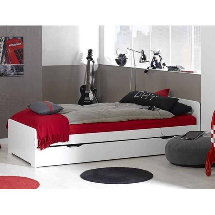 lit gigogne 90x190 complet avec sommiers blanc blanc alfred et compagnie la redoute. Black Bedroom Furniture Sets. Home Design Ideas