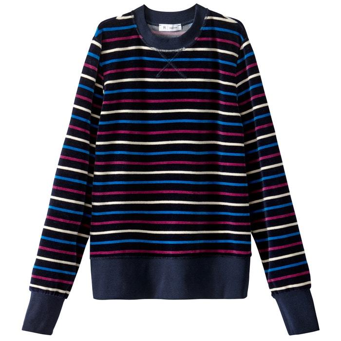 afbeelding Gestreepte sweater in fluweel La Redoute Collections