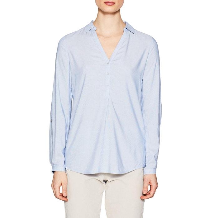 Unifarbene Bluse, Polo-/Hemdkragen, gerader Schnitt  ESPRIT image 0
