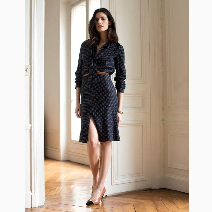 Imagen de Vestido de seda con chalina y lunares La Redoute Collections