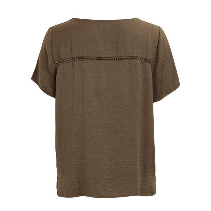 Blusa lisa redondo corta con VILA cuello manga 78UnUPB