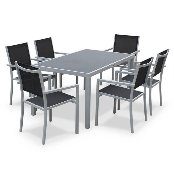 Salon de jardin aluminium table 150cm, 6 fauteuils en textilène gris ...