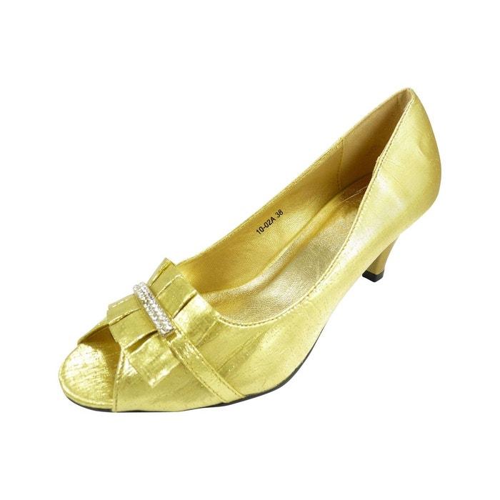 Chaussures de soirée ouvertes devant satin dore Chaussmaro