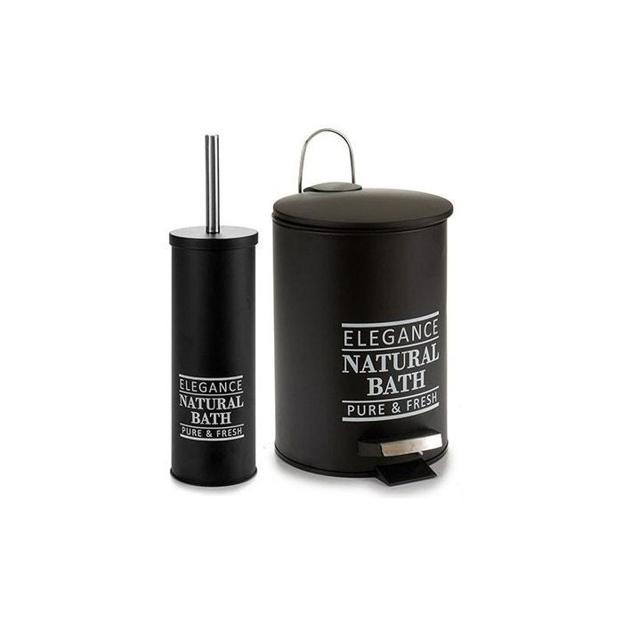 Poubelle De Salle De Bain + Brosse Wc Métal Noir Natural Bath Noir Wadiga |  La Redoute