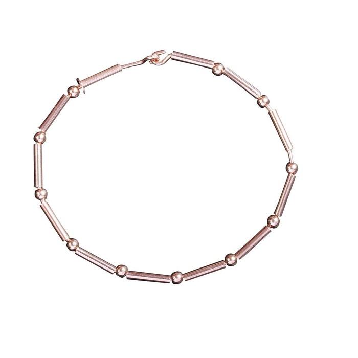 """Bracelet """"Lucia"""" perles et tubes en doré rose sur argent 925 garanti"""