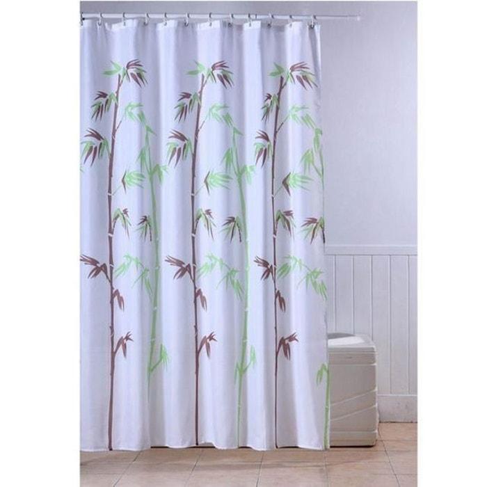 rideau de douche textile tige bambou blanc frandis la redoute. Black Bedroom Furniture Sets. Home Design Ideas
