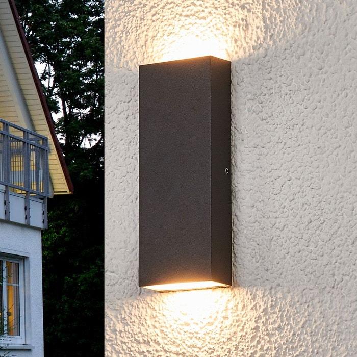 applique murale ext rieure led corda plate gris fonc blanc lampenwelt la redoute. Black Bedroom Furniture Sets. Home Design Ideas