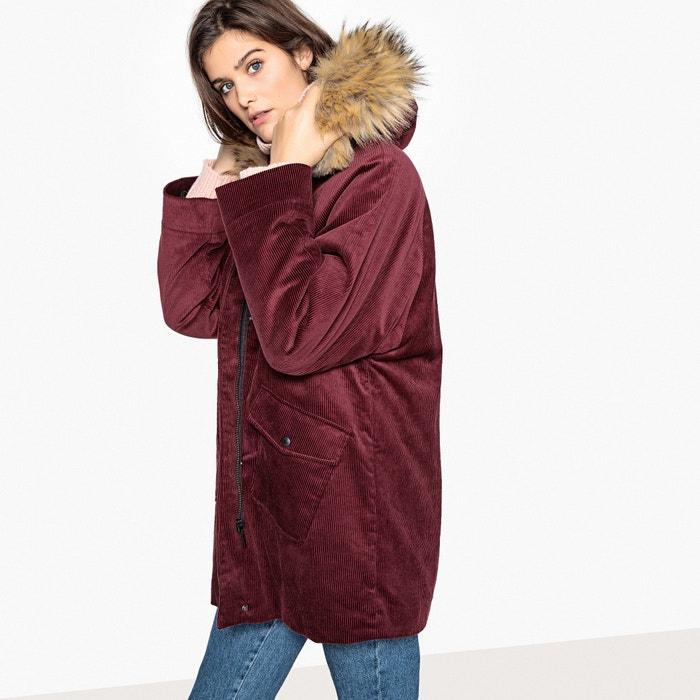 8ed93b3128b9 Corduroy faux fur hood parka La Redoute Collections