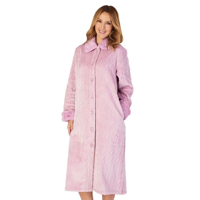 Robe de Chambre Femmes Fermeture Éclair Fausse Fourrure Col Long Moelleux Robe