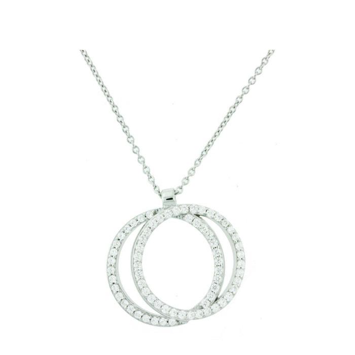 Collier en argent et oxydes, double cercle victoria kiss 07722 oxyde de zirconium Ysora | La Redoute