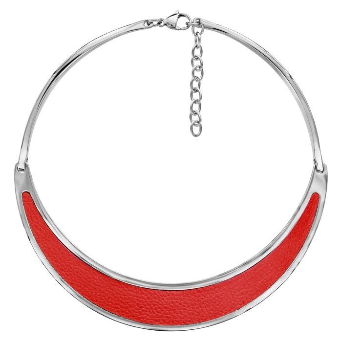 Pour Pas Cher Collier semi rigide cuir rouge acier inoxydable couleur unique So Chic Bijoux   La Redoute Magasin Pas Cher 8YxOqVJ