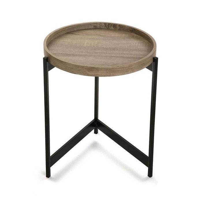 bout de canap table de chevet plateau rond en bois et tr pied en m tal noir d40xh50cm bois. Black Bedroom Furniture Sets. Home Design Ideas