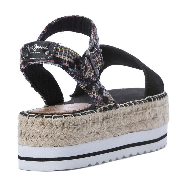 Sandales compensées hada twist noir Pepe Jeans