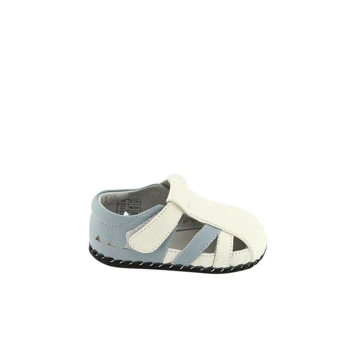 ccf5a2763dc36 Chaussures premiers pas cuir souple sandales fermées blanc Freycoo ...