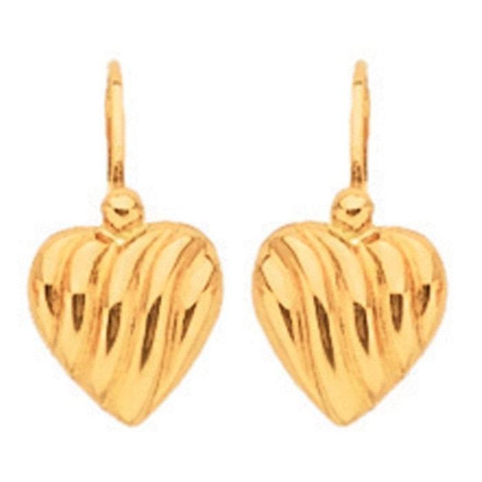 Jeu Peu Coûteux authentique Boucles d'oreilles dormeuses coeur strié or or jaune 375/000 (9 carats) couleur unique So Chic Bijoux   La Redoute avzDv