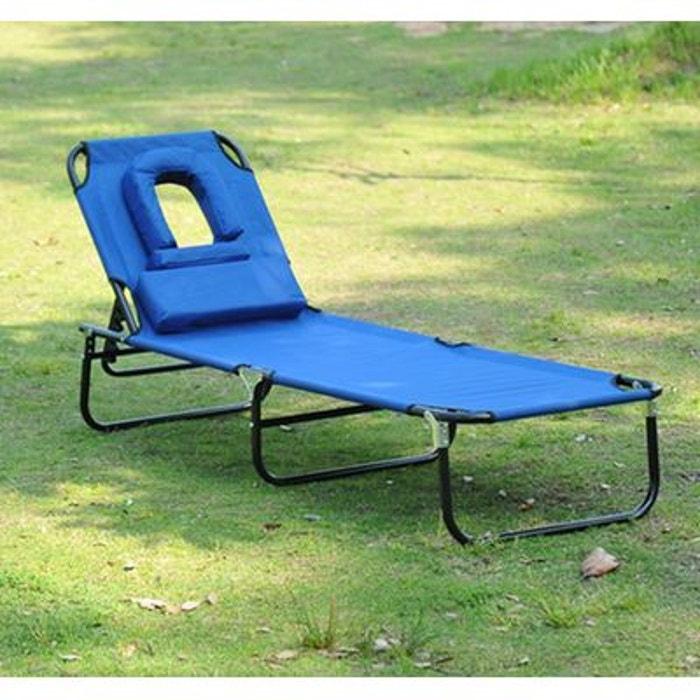 bain de soleil inclinable pliable bleu bleu homcom la. Black Bedroom Furniture Sets. Home Design Ideas