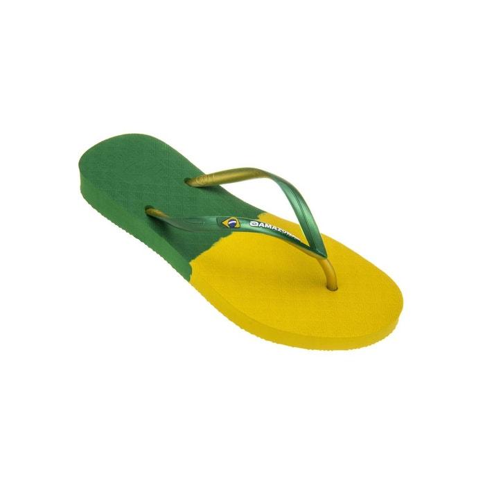 Amazonas Tongs femme  Fun Brasil Jaune et Vert VERT - Chaussures Tongs Femme