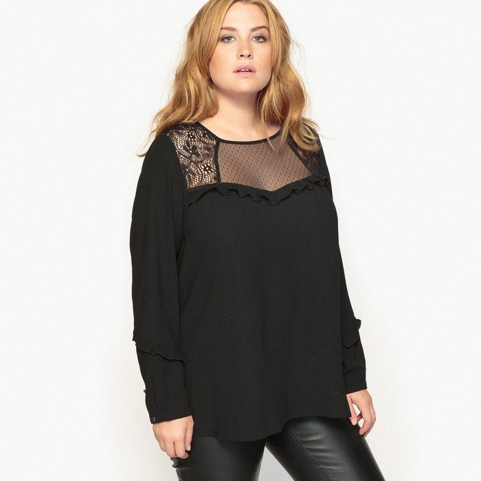 blouse manches longues haut dentelle et plumetis castaluna noir la redoute. Black Bedroom Furniture Sets. Home Design Ideas