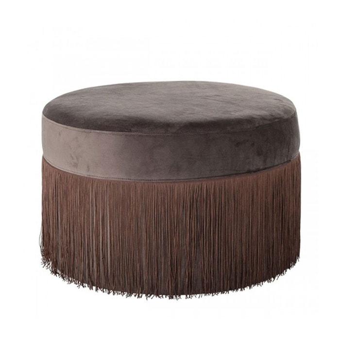 pouf en velours marron franges grandma marron wadiga la redoute. Black Bedroom Furniture Sets. Home Design Ideas
