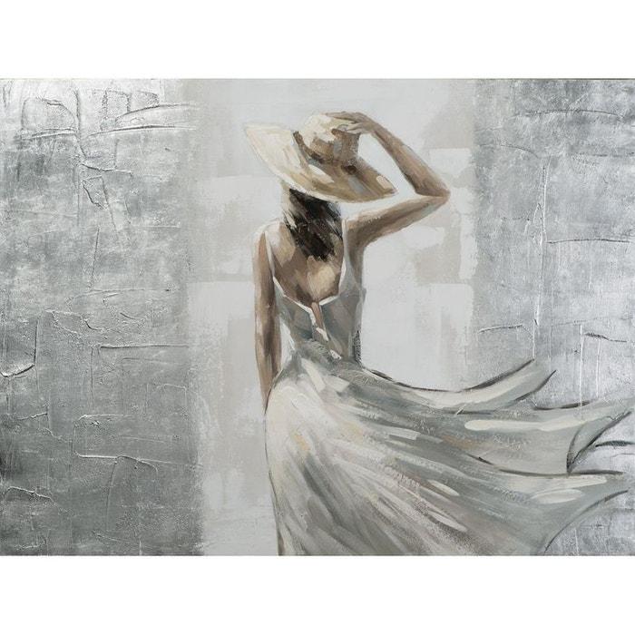 Tableau femme v tue d 39 un chapeau et la robe au vent tons - Comment enlever de la peinture acrylique sur un vetement ...