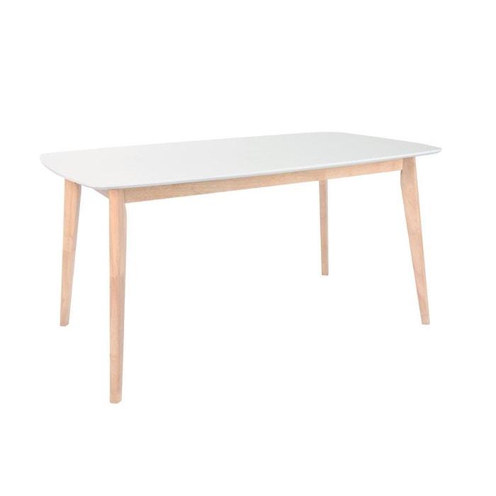 Table A Manger Scandinave Blanc Et Bois Clair L150 Cm Leena Blanc