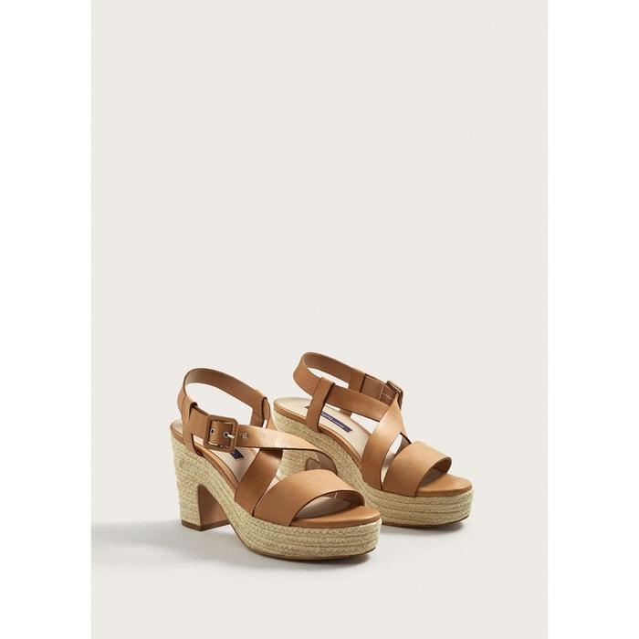 Sandales compensées cuir beige Violeta By Mango