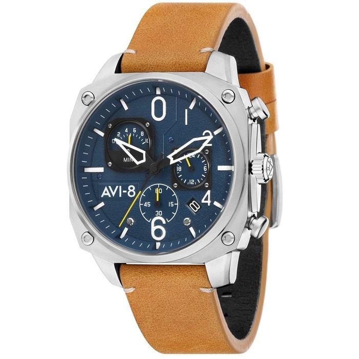 Original Jeu Montre chronographe bracelet cuir véritable hawker hunter Avi Coût Vrai Jeu Professionnel En Ligne recommander DVVfL6yNl