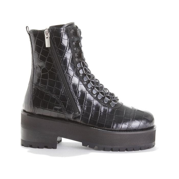 Boots en cuir à semelle épaisse