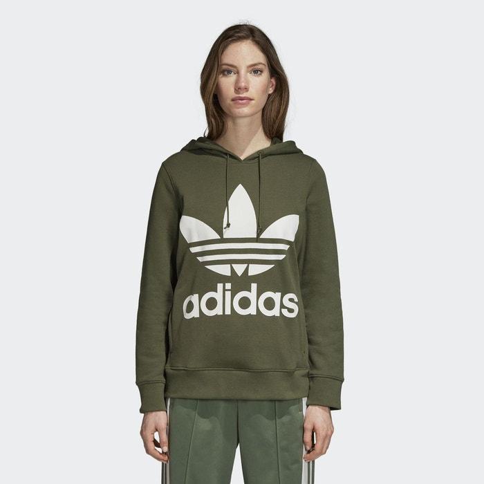 7f461b77a9f8e Sweat-shirt à capuche trefoil vert Adidas Originals   La Redoute