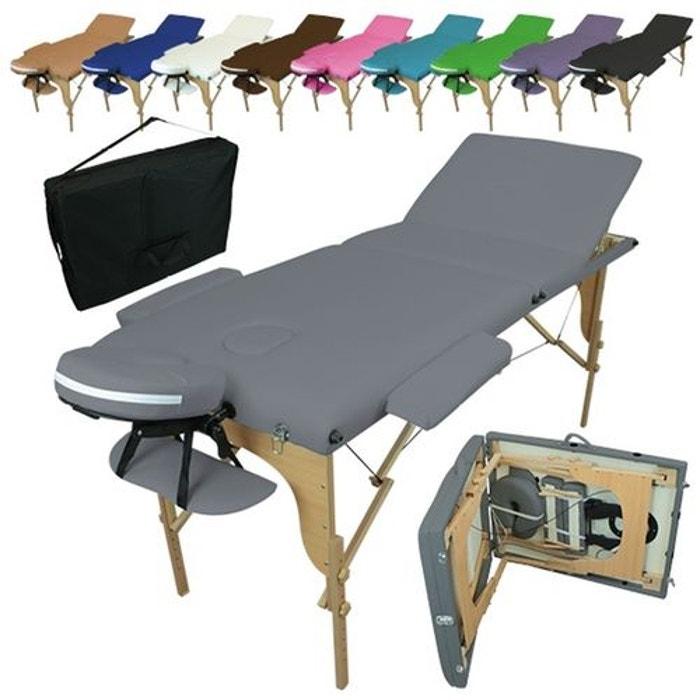 Table De Massage Pliante 3 Zones En Bois Avec Panneau Reiki