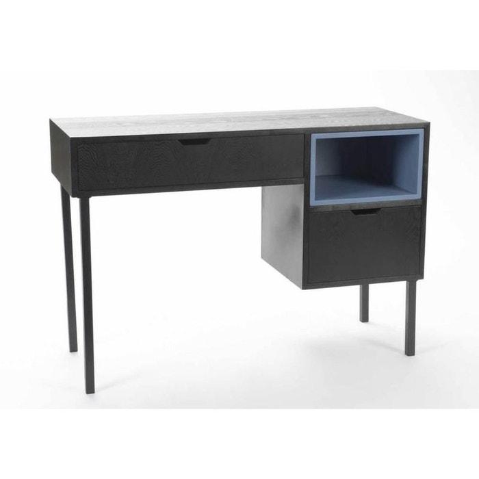 Bureau style industriel en fr ne et m tal noir korb la for Bureau en metal style industriel