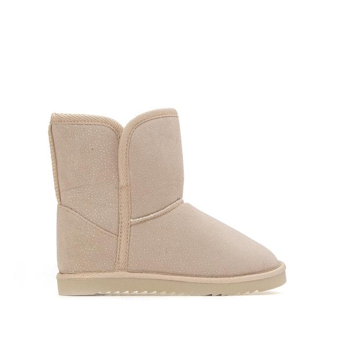 Kids fur lined boots, 8.5-4 beige La