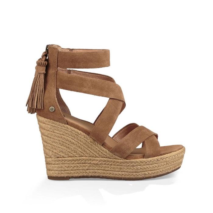 Sandales compensées, cuir, raquel noisette Ugg